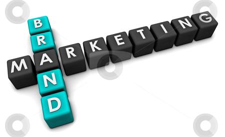 Brand Marketing Concept in 3d Blocks Art